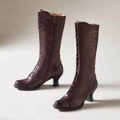 """AUSTEN BOOTS--No less charming now, our Victorian-inspired boots are hand dyed leather laser etched with a flower pattern. Scalloped topline, draped cap toe. Full inside zip (no lacing!). Curvy 2-1/2"""" heel. Made in Spain. Exclusive. Euro whole sizes 36 to 41. 36 (US 5.5), 37 (US 6.5), 38 (US 7.5), 39 (US 8.5), 40 (US 9), 41 (US 10)."""