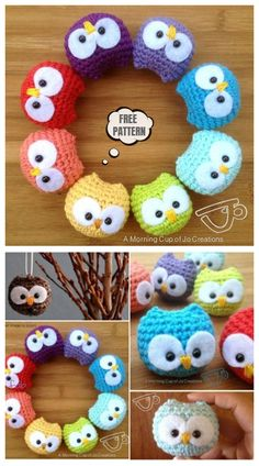 Owl Crochet Pattern Free, Crochet Keychain Pattern, Crochet Owls, Crochet Diy, Crochet Patterns Amigurumi, Crochet Gifts, Tutorial Amigurumi, Patron Crochet, Owl Ornament
