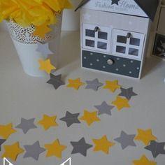 Guirlande étoiles gris jaune étoiles - décoration chambre enfant bébé - décoration mariage - décoration baptême - accessoires photobooth