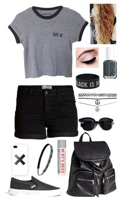 """Cute AF"" by fashionbum52 ❤ liked on Polyvore featuring Pieces, Madewell, H&M, Oliver Peoples, Samsung, Wet Seal, Maybelline, Burt's Bees, Essie and Sweaty Bands"