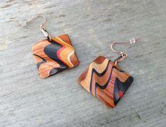 OOAK Wearable Art Graffiti Earrings Rectangular Modern Tribal Bead Earrings Handmade Exotic Wood Bead Jewelry