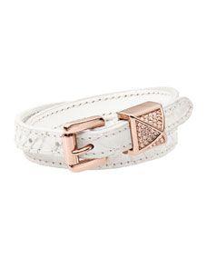 Michael Kors Leather Wrap Bracelet, White/Rose Golden