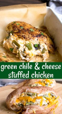 Cheese stuffed chicken breast with Hatch green chiles, cheddar cheese and cream cheese is so flavorful with such few ingredients! This easy baked stuffed chicken breast is a great dinner for two! #stuffedchicken #stuffedchickenbreast #bakedstuffedchickenbreast #cheesestuffedchickenbreast #chickenrecipes #chickendinner #dinnerideas #easydinners