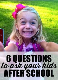 Get your kids talking. Six specific questions to ask your kids after school. Get more than one-word answers about your kids' day at school with these great questions. Plus tips on how to keep the conversations going. A must-read for moms with kids in school.