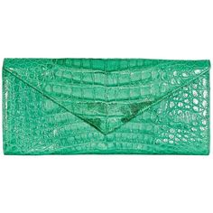 Green LAI Crocodile Clutch (1.090 BRL) ❤ liked on Polyvore featuring bags, handbags, clutches, croc purse, crocodile embossed handbags, crocodile purse, green purses and green clutches