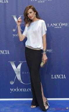 My long black silk chiffon skirt and white silk zipper front Tom Ford glasses   AudreyHepburnesque.....Nieves Alvarez