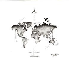 Globe world map with plane tattoo design by Mandira Globus Weltkarte mit Flugzeug Tattoo Design von Mandira M Tattoos, Cute Tattoos, Beautiful Tattoos, Tattoo Drawings, Body Art Tattoos, Small Tattoos, Maori Tattoos, Awesome Tattoos, Pretty Tattoos