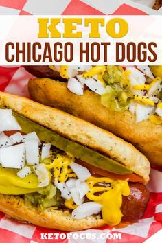 The ultimate hot dog with all toppings is the keto chicago style hot dog. This keto hot dog recipe starts with a buttery low carb hot dog bun filled with a juicy 100% all-beef grass-fed hot dog and piled high with sliced tomato, pickles, diced white onion, relish and pepperoncinis. Then this keto hot dog is topped with a squirt of mustard and a sprinkle of poppy seeds. | KetoFocus @ketofocus #ketohotdogs #ketosummerrecipes #kidfriendlyrecipes #ketolunch #ketoballfood #ketofocus Keto Lunch Ideas, Lunch Recipes, Summer Recipes, Dinner Recipes, Chicago Hot Dog, Chicago Style, Hot Dog Buns, Hot Dogs, Hot Dog Recipes