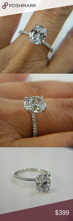 14k Solid White Gold Engagement Ring 3ct Oval 3ct oval brilliant cut man made Diamond center stone in a Solid 14k white gold setting  Available in sizes 4 5 6 7 8 9 10 Jewelry Rings