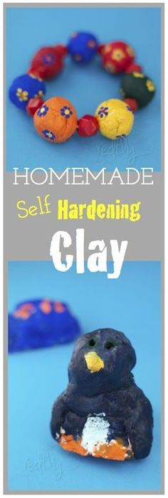 Homemade Self-Hardening Modeling Clay from redflycreations.com.  Just a 5 minute recipe!?  2C flour, 1/2 tsp alum, 3/4 C salt 3/4 C water few drops of color