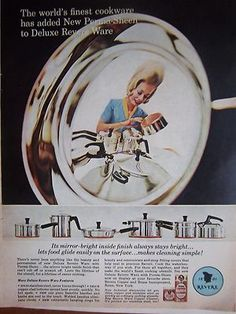 1965 Vintage Revere Ware Copper Bottom Cookware And Cleaner Color Ad