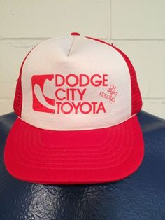 bda144ab5 Rare Vintage Toyota Dodge City Snapback Flat Bill Trucker Cap Hat