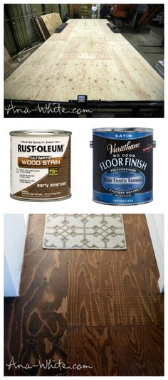 DIY stained plywood flooring.  Use your subfloor as flooring!  Tiny house build save money, time, weight and add space.
