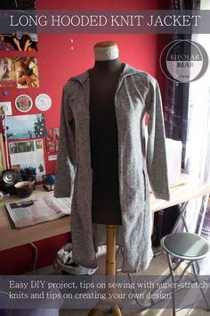 Long Hooded Knit Jacket – BIPOLAR BEAR