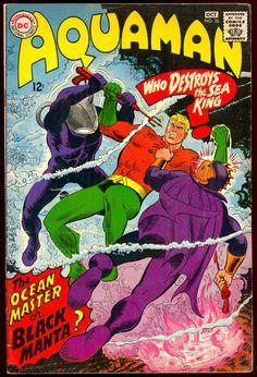 Aquaman App Of Black Manta Dc Comics Ocean Master Cover Comic Book Villains, Comic Book Characters, Comic Character, Vintage Comic Books, Vintage Comics, Comic Books Art, Book Art, Silver Age Comics, Ocean Master