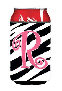 Letter R Initial Monogram - Zebra Stripe and Pink Can or Bottle Beverage Insulator Hugger