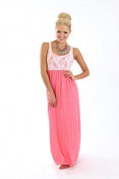 Coral Lace Maxi Dress