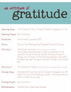 attitude of gratitude outline - family home evening kit