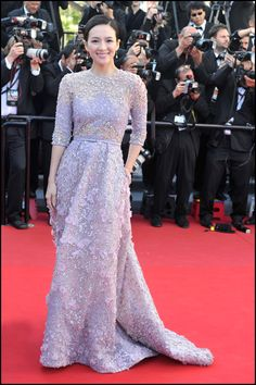 Ziyi Zhang wears ELIE SAAB Haute Couture Spring-Summer 2013 to the premiere of 'Venus In Fur' at The 66th Annual Cannes Film Festival.