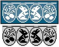 This Pin was discovered by All Filet Crochet, Crochet Borders, Crochet Chart, Crochet Patterns, Easter Crochet, Crochet Bunny, Crochet Animals, Crochet Curtains, Theme Days
