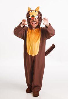 DisfracesMimo, disfraz de lobo marron infantil varias tallas. Y Caperucita se encontró en Carnavales en el bosque a este niño vestido de lobo de cuento.Este disfraz es ideal para tus fiestas temáticas de disfraces de animales para niños infantiles.