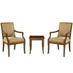 """Powell Rect-Back Accent Chairs with Light Cherry End Table, 3-Piece by Powell. $418.00. Some assembly required. Beige fabric seat cushion and back. """"light cherry"""" finish. Seat height-18-inch ; table height-18-inch. Sleek and simple design. This three piece set would be the perfect addition to any room in your home. The two rectangular back accent chairs feature a plush, comfortable beige fabric seat cushion and back, and straight, sturdy legs. The small but spa..."""