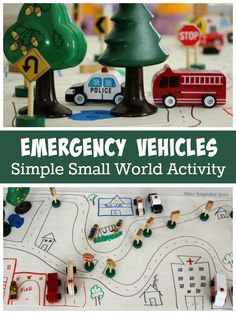 Emergency Vehicles Small World Play! A fun learning activitiy that teached kids about community helpers through pretend play