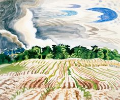 From Montclair Art Museum, Charles Ephraim Burchfield, Clearing Sky Watercolor on paper American Scene Painting, Weather And Climate, Guache, Nature Scenes, American Artists, Landscape Paintings, Landscape Art, Pastels, Art Museum