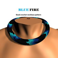 Blue Fire. Bead crochet rope pattern PDF pattern beaded
