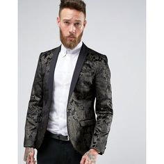 Noose & Monkey Super Skinny Blazer In Floral Velvet with Shawl Lapel (€195) ❤ liked on Polyvore featuring men's fashion, men's clothing, men's sportcoats, black and tall mens clothing