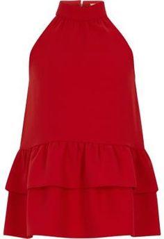 d63abb9a288 River Island Girls red halter neck frill hem top