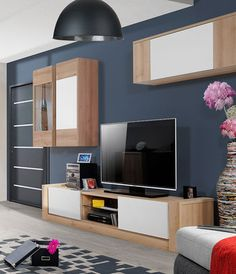 ensemble meubles TV moderne blanc mat et couleur chêne clair
