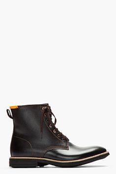 PAUL SMITH JEANS Black etched leather neon-trimmed boots $495.00 thestylecure.com