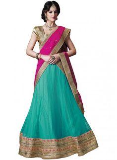 Turquoise and Rani Pink Net Lehenga Choli