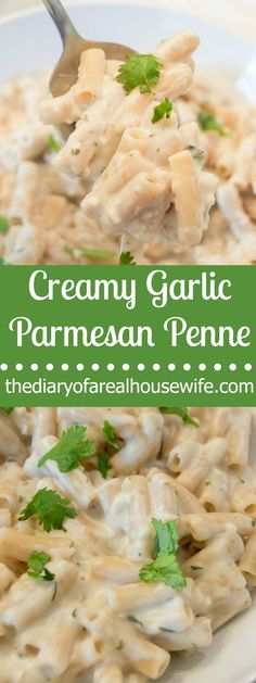 Creamy Garlic Parmesan Penne. Simple easy dinner idea. You could serve it with grilled chicken or a salad. The perfect dinner recipe.