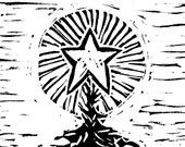 Articoli simili a Star Light, Star Bright, mano tirato Lino carta natale di rilievo, incisione originale su Etsy