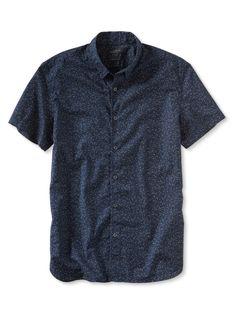 Camden-Fit Custom Wash Short Sleeve Print Shirt | Banana Republic
