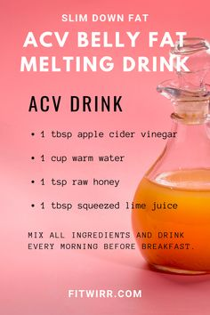 Apple Cider Vinegar Detox Drink Recipe for Weight Loss and fat loss around your stomach. 4 other belly fat burning drinks to lose weight and get a flatter tummy. Can an apple cider vinegar each day keep carefully the doctor away? Weight Loss Meals, Weight Loss Drinks, Weight Loss Smoothies, Weight Gain, Fast Weight Loss, Drinks To Lose Weight, Weight Loss Detox, How To Lose Weight Fast, Key To Losing Weight