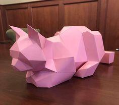 Pink sleepy cat paper low polygon https://www.etsy.com/shop/NassCo