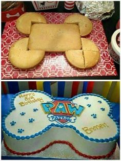 Paw Patrol Party ideas for Houston Kids parties. Paw Patrol Cakes and Paw Patrol party entertainers//dancing//music//games and Bolo Do Paw Patrol, Paw Patrol Torte, Paw Patrol Cupcakes, Paw Patrol Bone Cake, Paw Patrol Birthday Cake, Dog Birthday, Birthday Ideas, Third Birthday, Easy Boy Birthday Cake