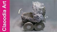 Wózek, papierowa wiklina (Stroller, paper wicker, DIY)