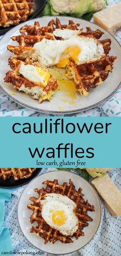 I'll be the first to admit, I wasn't sure if these cauliflower waffles would be any good but I was so pleasantly surprised. Only 5 ingredients and quick to make, they make a tasty, low carb and gluten free any-time meal. #ad #brunchweek #cauliflower #waffles #lowcarb #breakfast #brunch #glutenfree