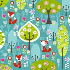Fox Forest Blue fabric by natitys on Spoonflower - custom fabric. Use for blanket. Make other side Minky.