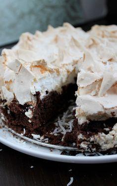Brownie Cake with Coconut Meringue {HiddenPonies.com)
