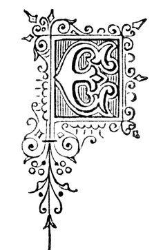 Free Vintage Initial Capital Letter 'E' Letter E, Initial Letters, Letter Ornaments, Initial Capital, Illuminated Letters, Adult Coloring, Initials, Calligraphy, Free