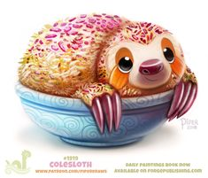 Daily Paint Colesloth by Cryptid-Creations on DeviantArt Cute Food Drawings, Cute Animal Drawings, Kawaii Drawings, Anime Animals, Cute Animals, Animal Puns, Animal Food, Animal Humor, Cute Doodles