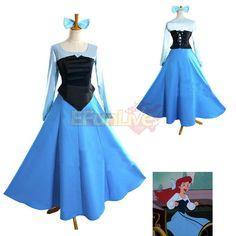 Women Mermaid Ariel Princess Cosplay Halloween Costume Party Dress