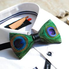 Kentucky Derby Peacock Feather Bow Tie