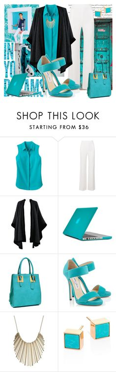 """Greenish Blue"" by imakhotimatus ❤ liked on Polyvore featuring Maison Kitsuné, TravelSmith, Roland Mouret, Yves Saint Laurent, Speck, Dasein, Jimmy Choo, Jennifer Lopez, Ginette NY and WorkWear"