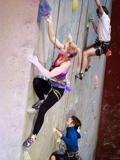 Klaudia Buczek with Violet Chalk Bat Chalk Bag  by Craftic Climbing
